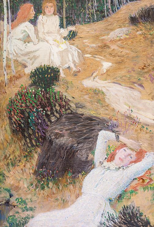 aukce obrazů, aukční síň european arts - Jan Preisler, Tři dívky v lese