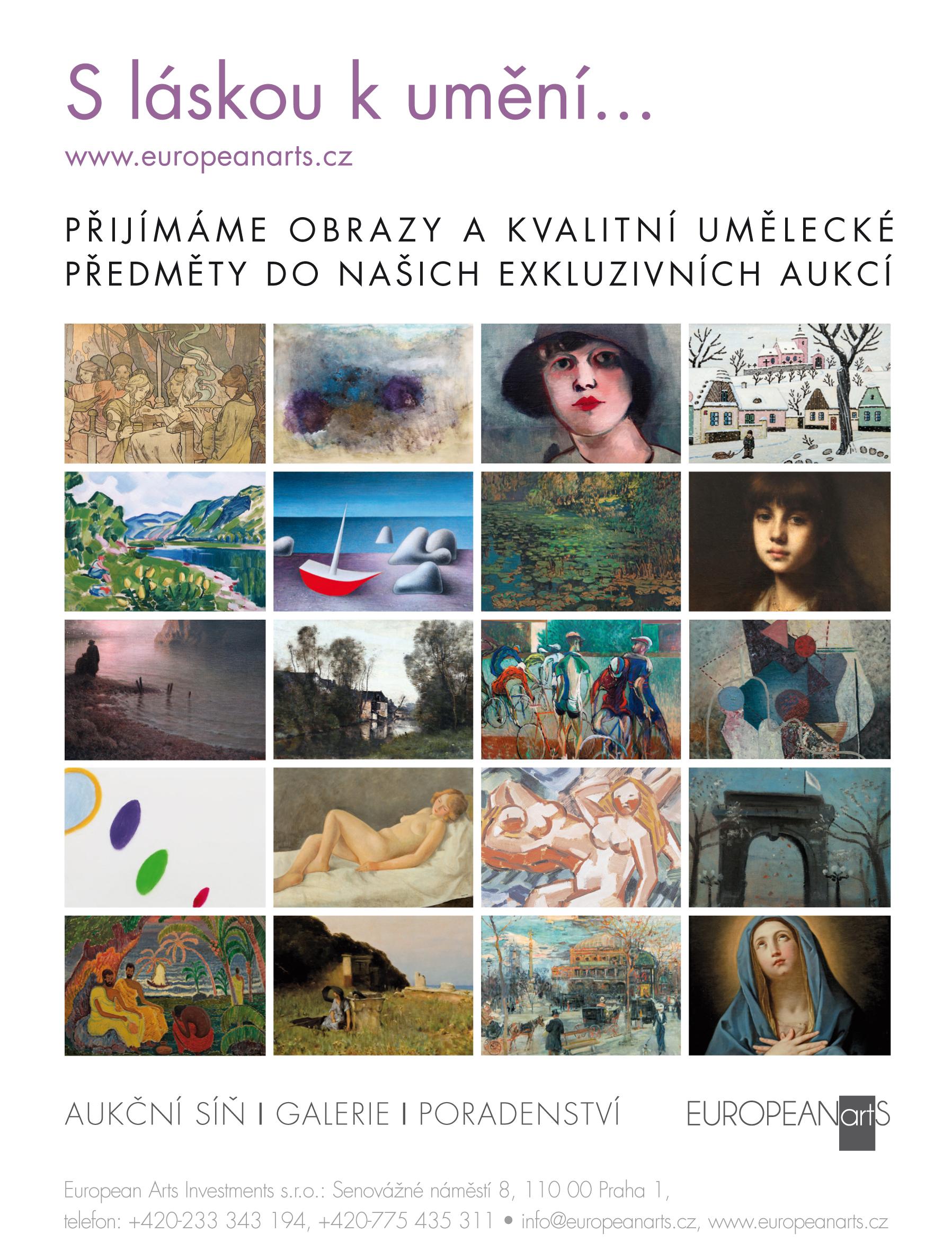 Aukce obrazů aukční síň European Arts pořádá aukce obrazů v Praze v Obecním domě