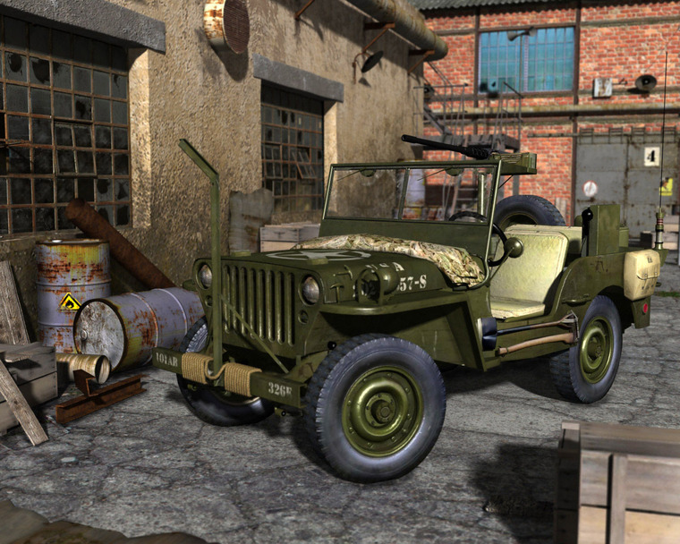 Jeep Willys - 3D grafika - kraky3D